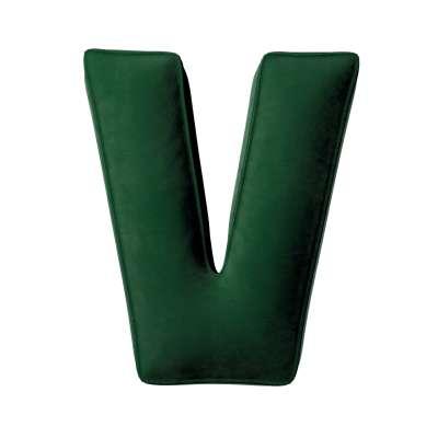 Buchstabenkissen V von der Kollektion Posh Velvet, Stoff: 704-13