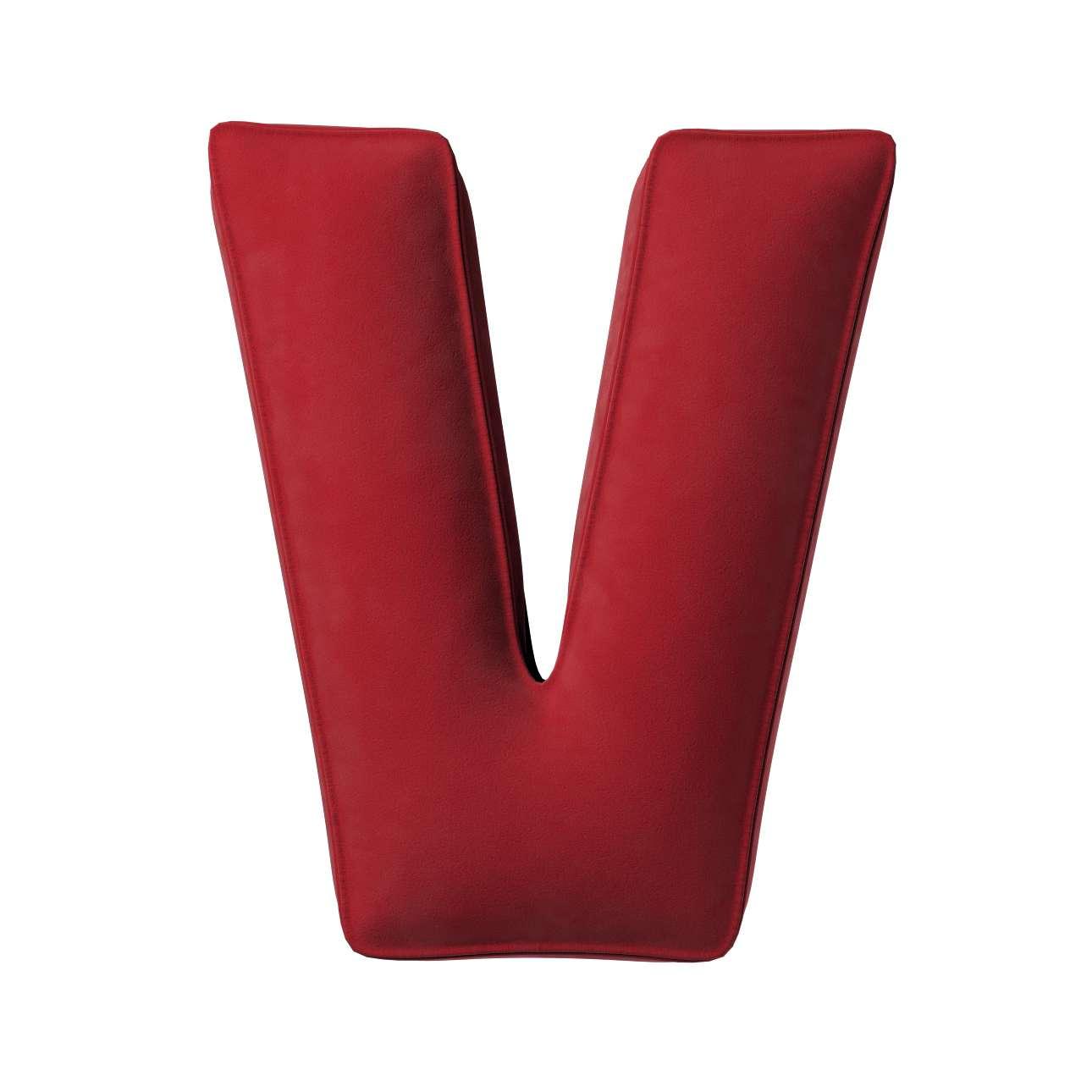 Buchstabenkissen V von der Kollektion Posh Velvet, Stoff: 704-15