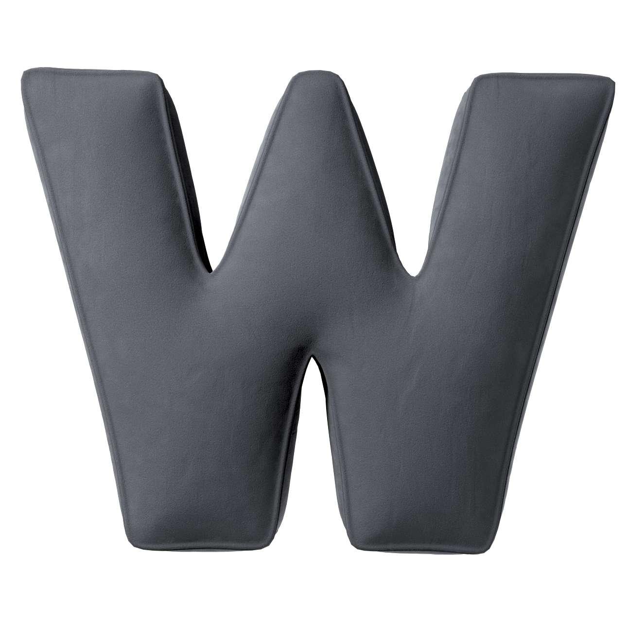 Buchstabenkissen W von der Kollektion Posh Velvet, Stoff: 704-12