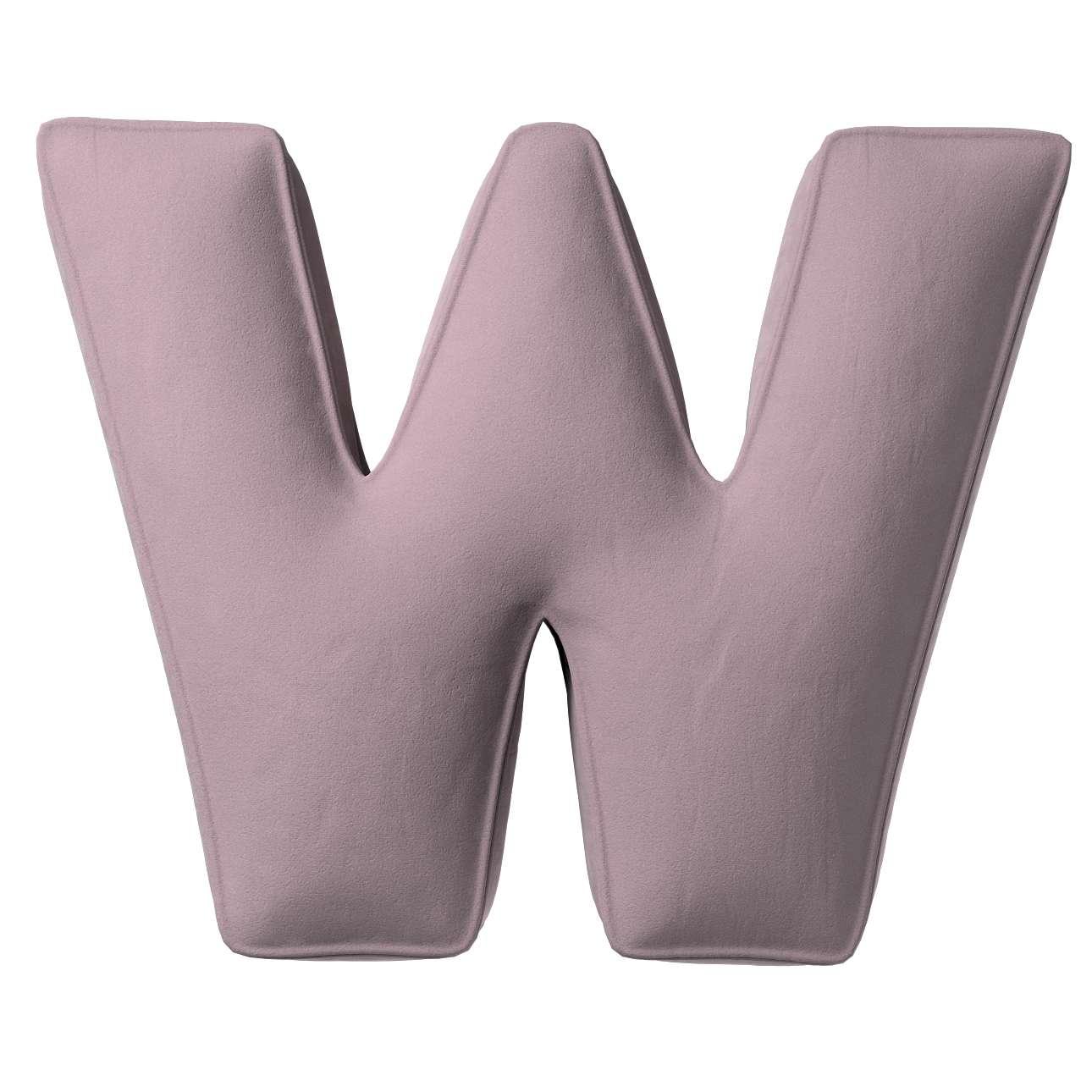 Buchstabenkissen W von der Kollektion Posh Velvet, Stoff: 704-14