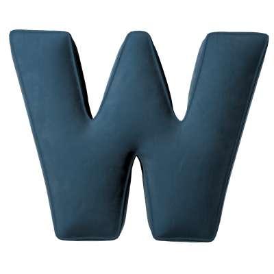 Buchstabenkissen W von der Kollektion Posh Velvet, Stoff: 704-16