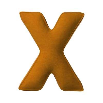 Buchstabenkissen X von der Kollektion Posh Velvet, Stoff: 704-23