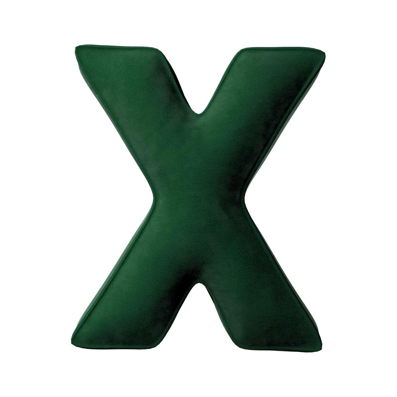 Buchstabenkissen X von der Kollektion Posh Velvet, Stoff: 704-13