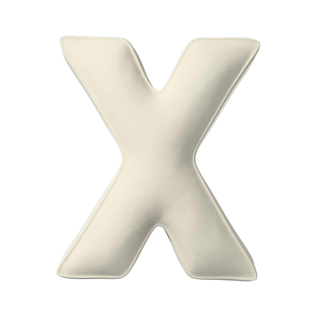 Buchstabenkissen X von der Kollektion Posh Velvet, Stoff: 704-10