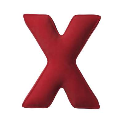 Buchstabenkissen X von der Kollektion Posh Velvet, Stoff: 704-15