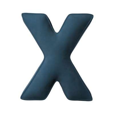 Buchstabenkissen X von der Kollektion Posh Velvet, Stoff: 704-16