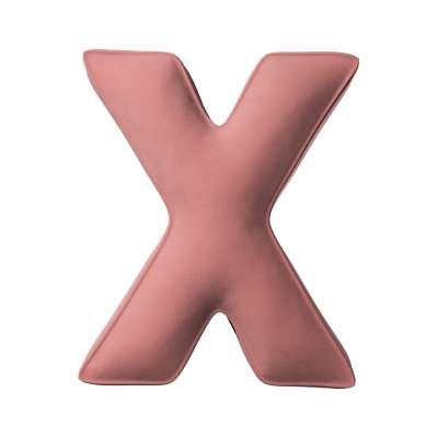 Buchstabenkissen X von der Kollektion Posh Velvet, Stoff: 704-30