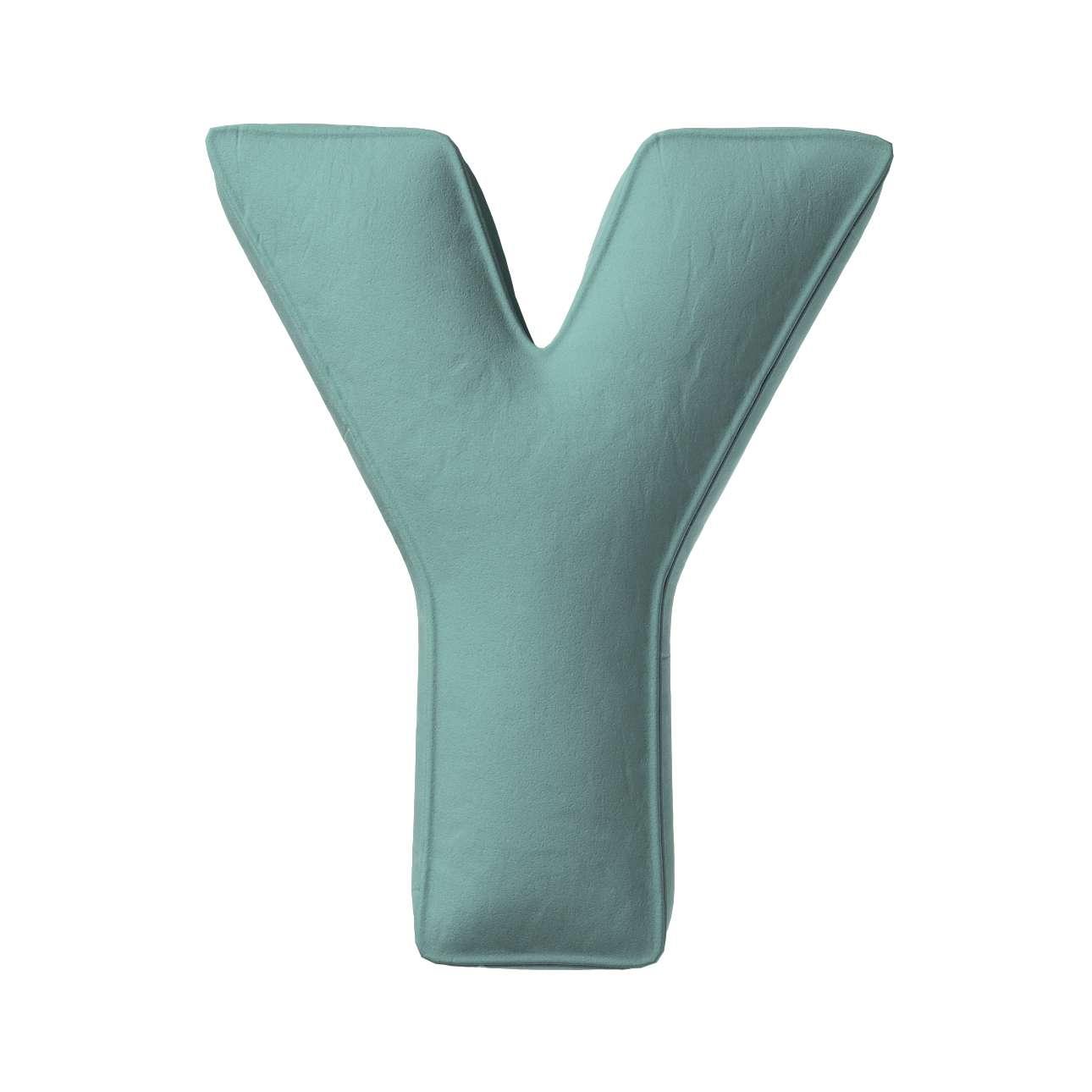 Buchstabenkissen Y von der Kollektion Posh Velvet, Stoff: 704-18