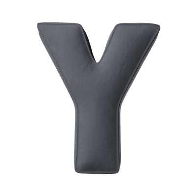 Buchstabenkissen Y von der Kollektion Posh Velvet, Stoff: 704-12