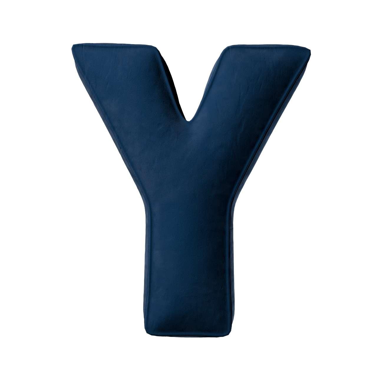 Buchstabenkissen Y von der Kollektion Posh Velvet, Stoff: 704-29