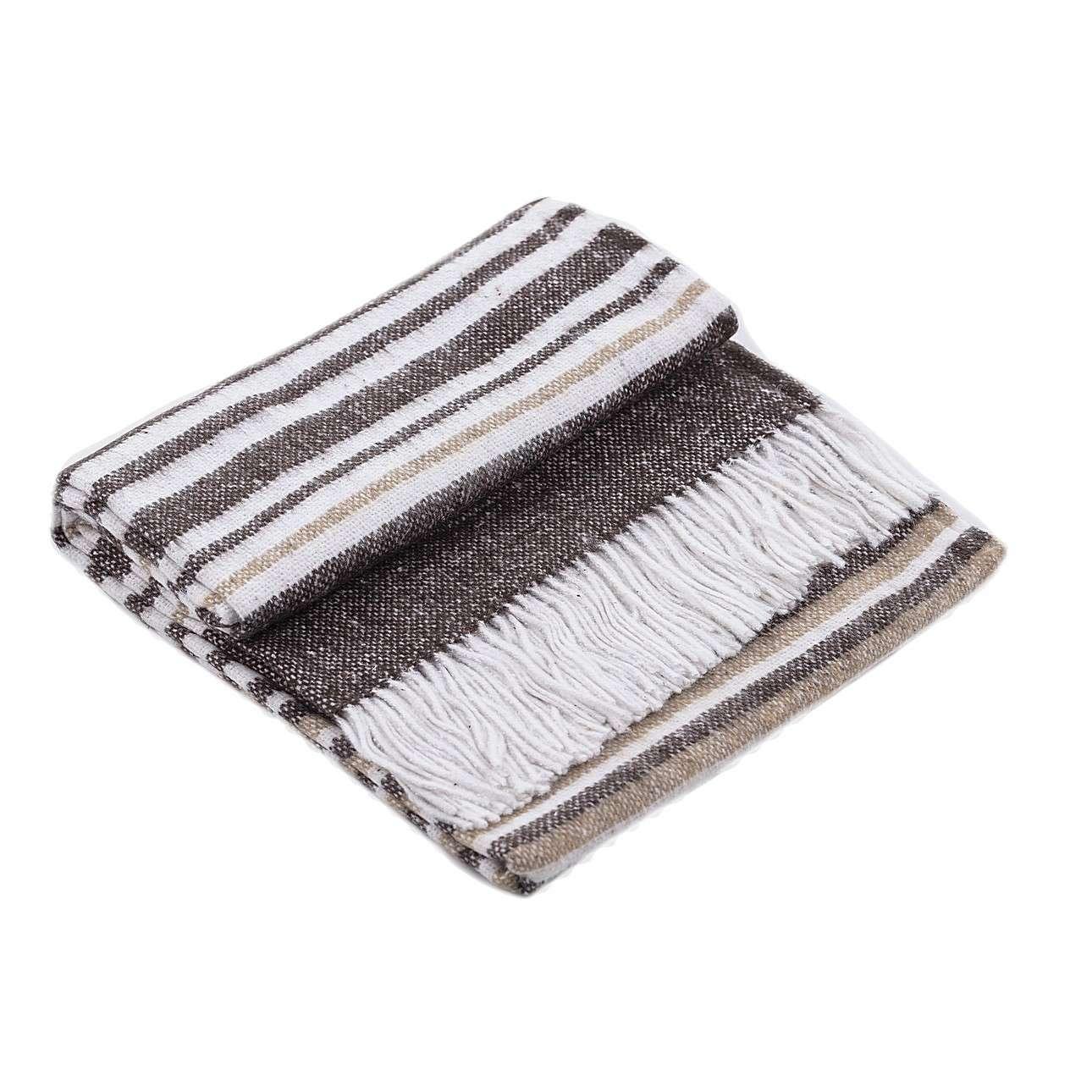 Plaid Gana Brown&White 140x200cm, 140 x 200 cm | Heimtextilien > Decken und Kissen > Tagesdecken und Bettüberwürfe | Dekoria