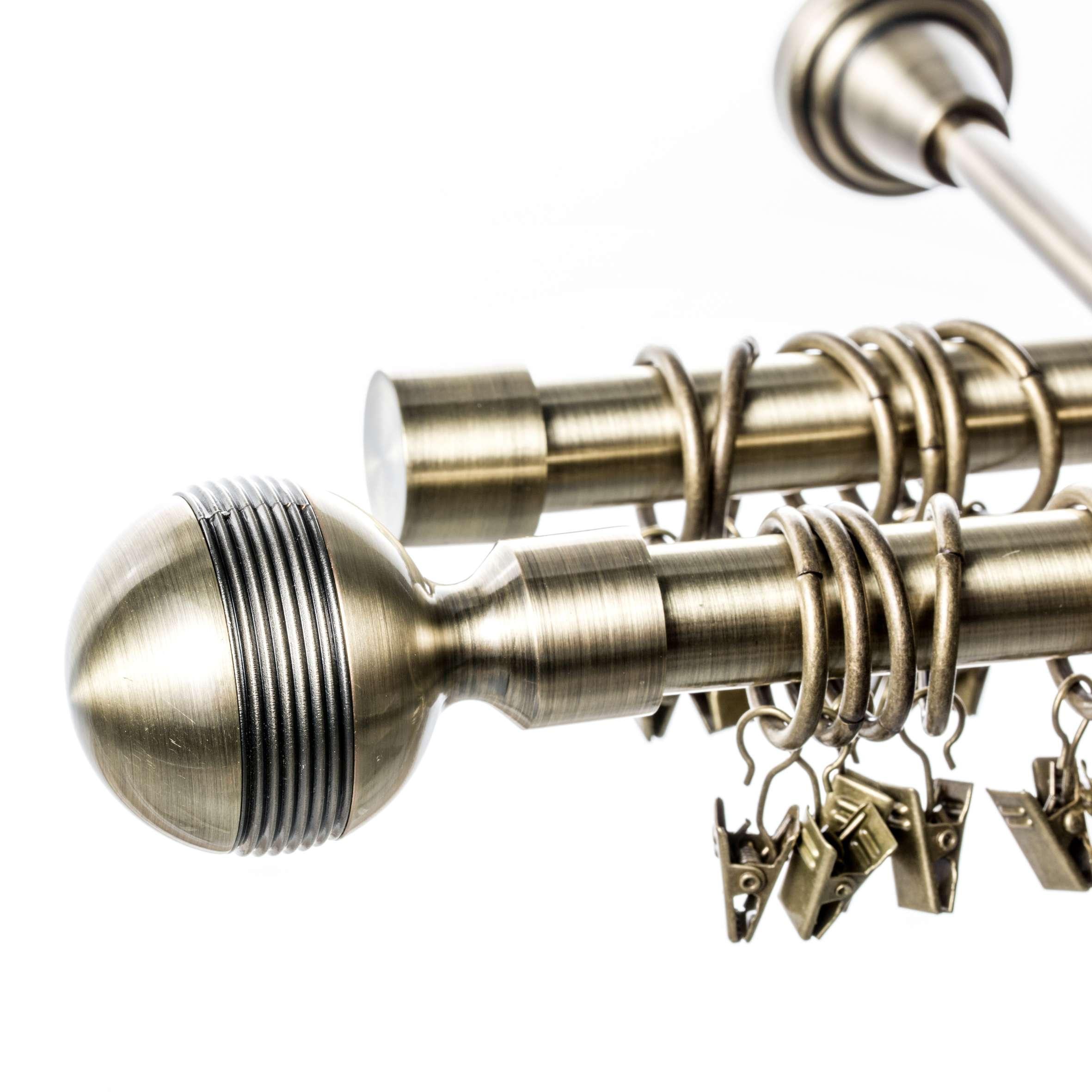 Karnisz podwójny Gabi złoty antyk 240 cm