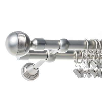 Karnisz podwójny Gabi chrom matowy 240 cm