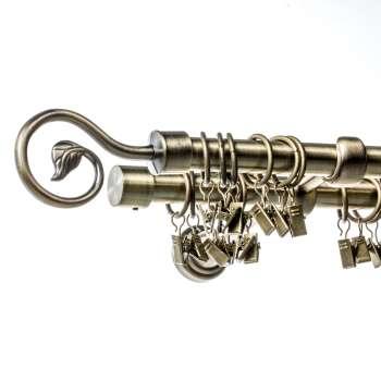 Karnisz podwójny Doris złoty antyk 200 cm