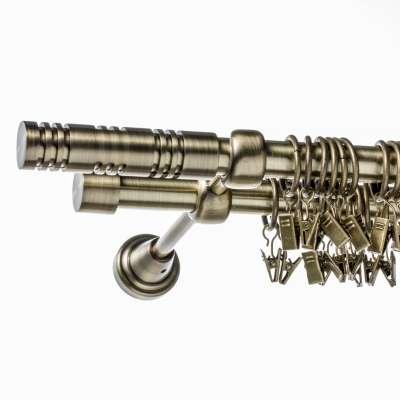 Garidnenstange Elis altgold zweiläufig 200 cm Gardinenstangen - Dekoria.de