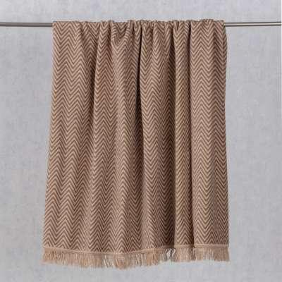 Cotton Cloud Blanket 150x200cm Beige Chevron Blankets and Throws - Dekoria.co.uk