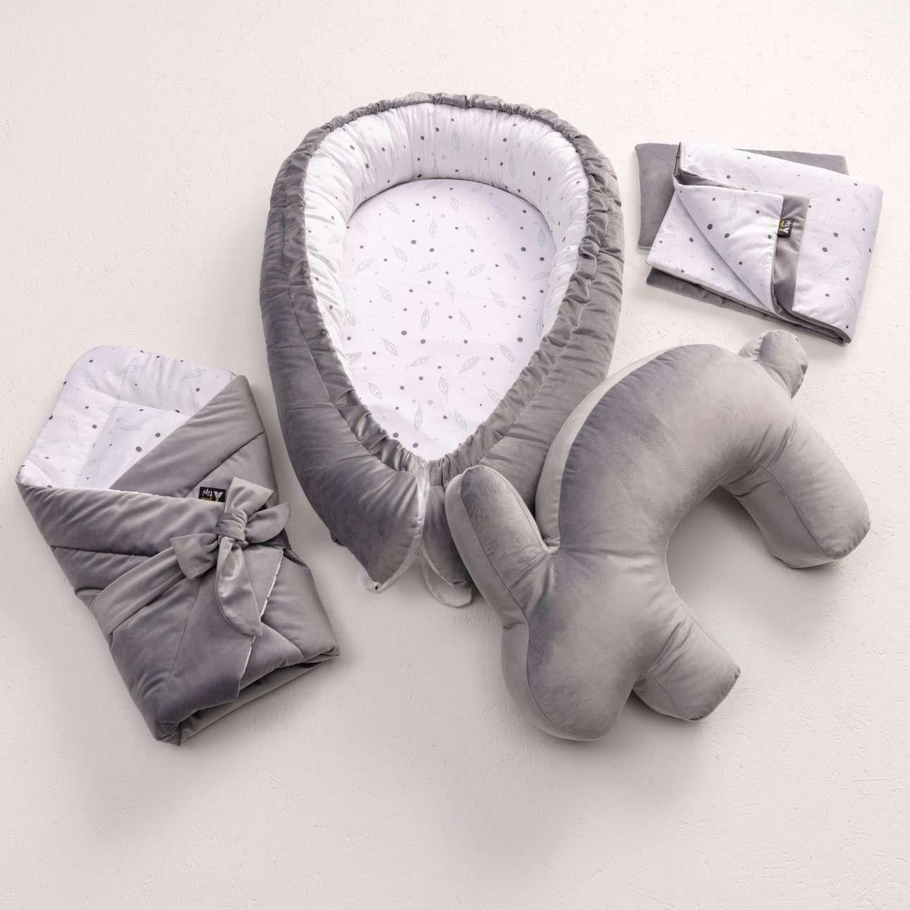 Velvet Bunny grey nursing pillow