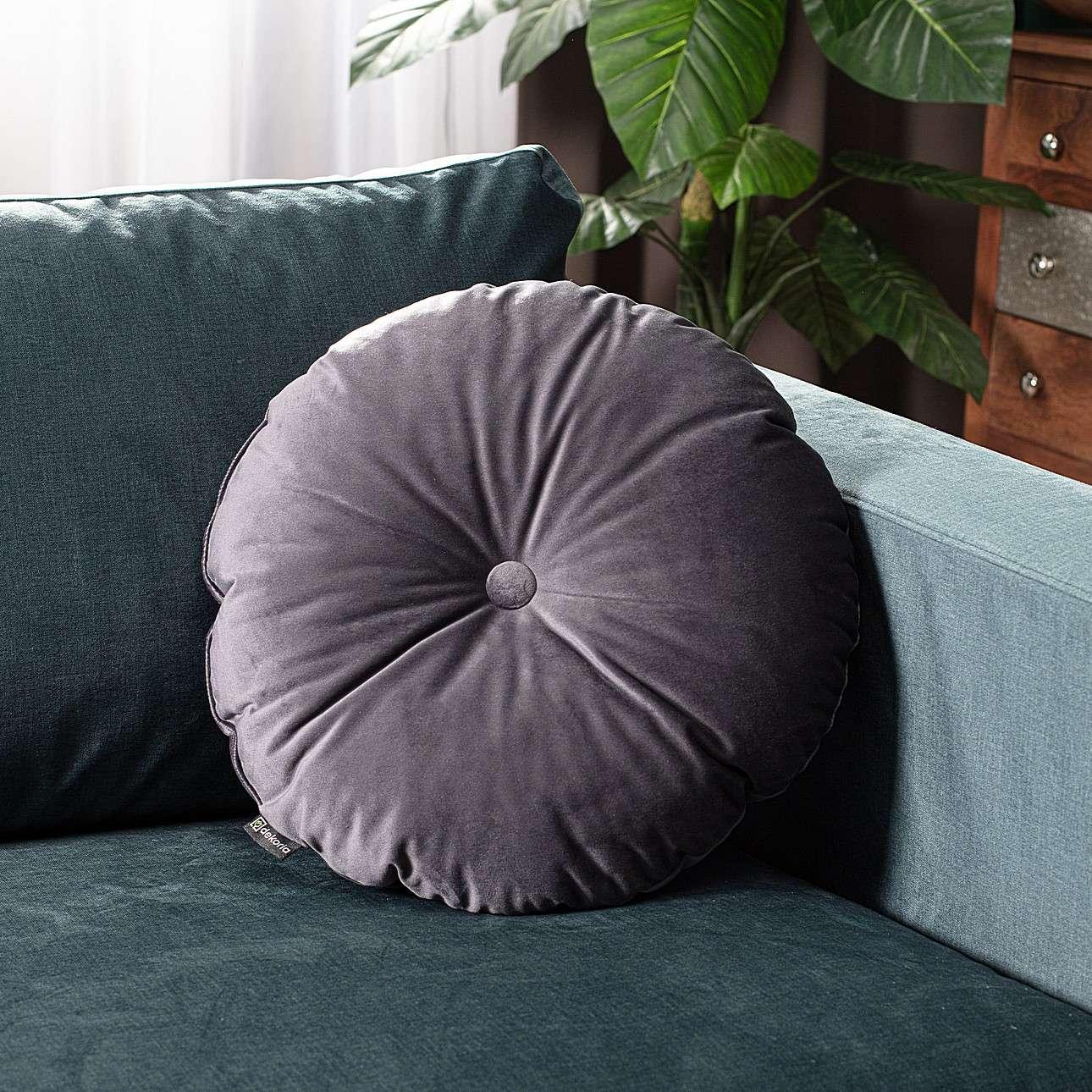 Poduszka okrągła Velvet z guzikiem w kolekcji Velvet, tkanina: 704-12