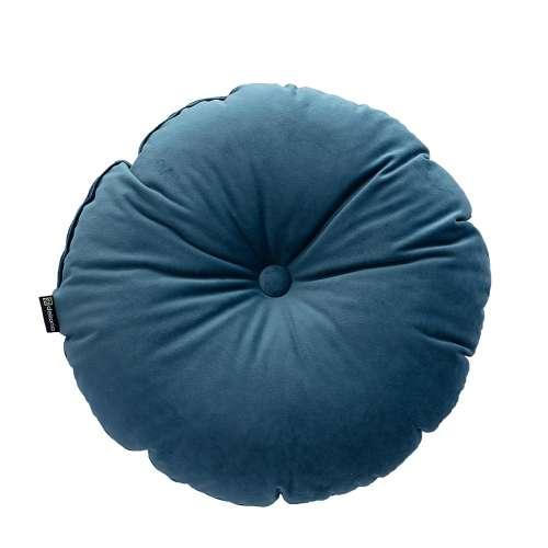 Round velvet cushion with button