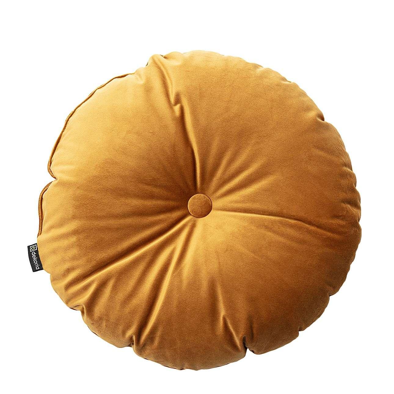 Sametový polštář Velvet kulatý s knoflíkem v kolekci Velvet, látka: 704-23