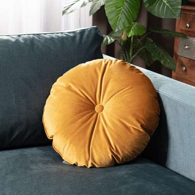 Round velvet cushion with button in collection Velvet, fabric: 704-23