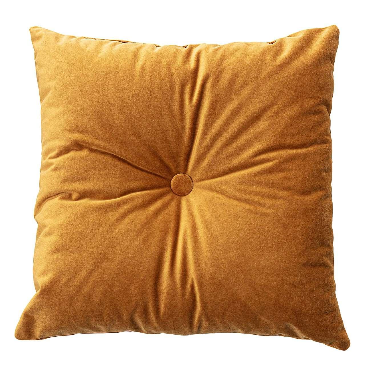 Sametový polštář Velvet s knoflíkem