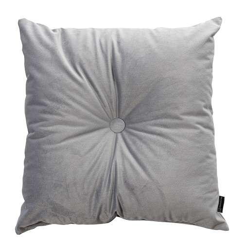 Square velvet cushion with button