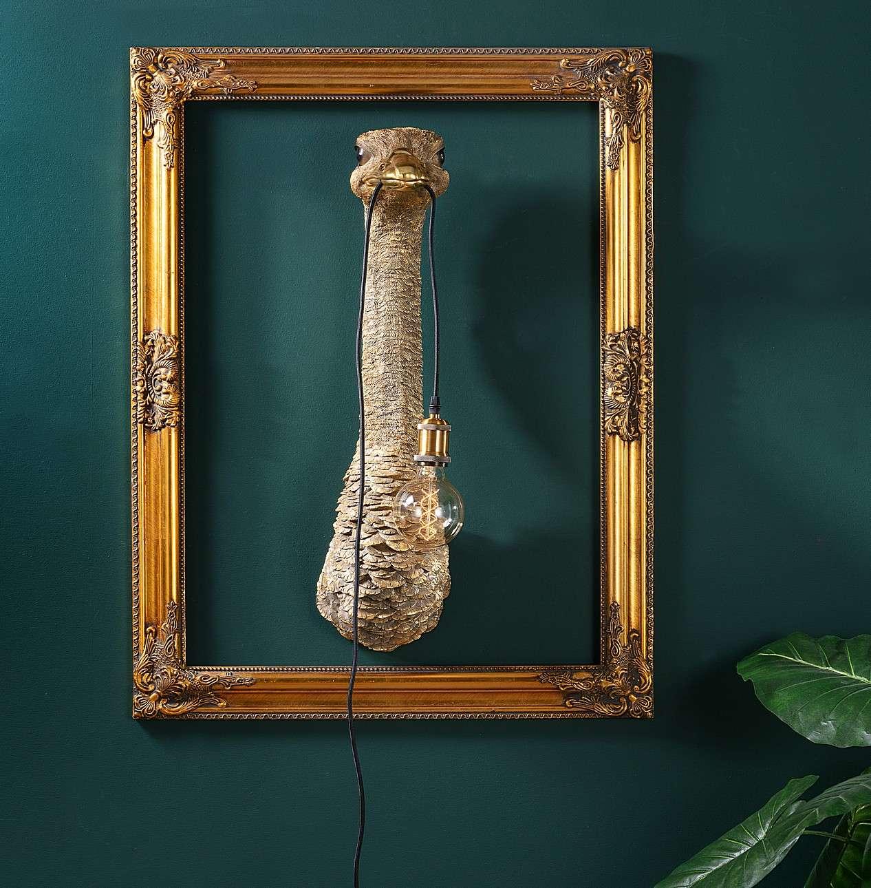 Wandlampe Gold Ostrich 72cm