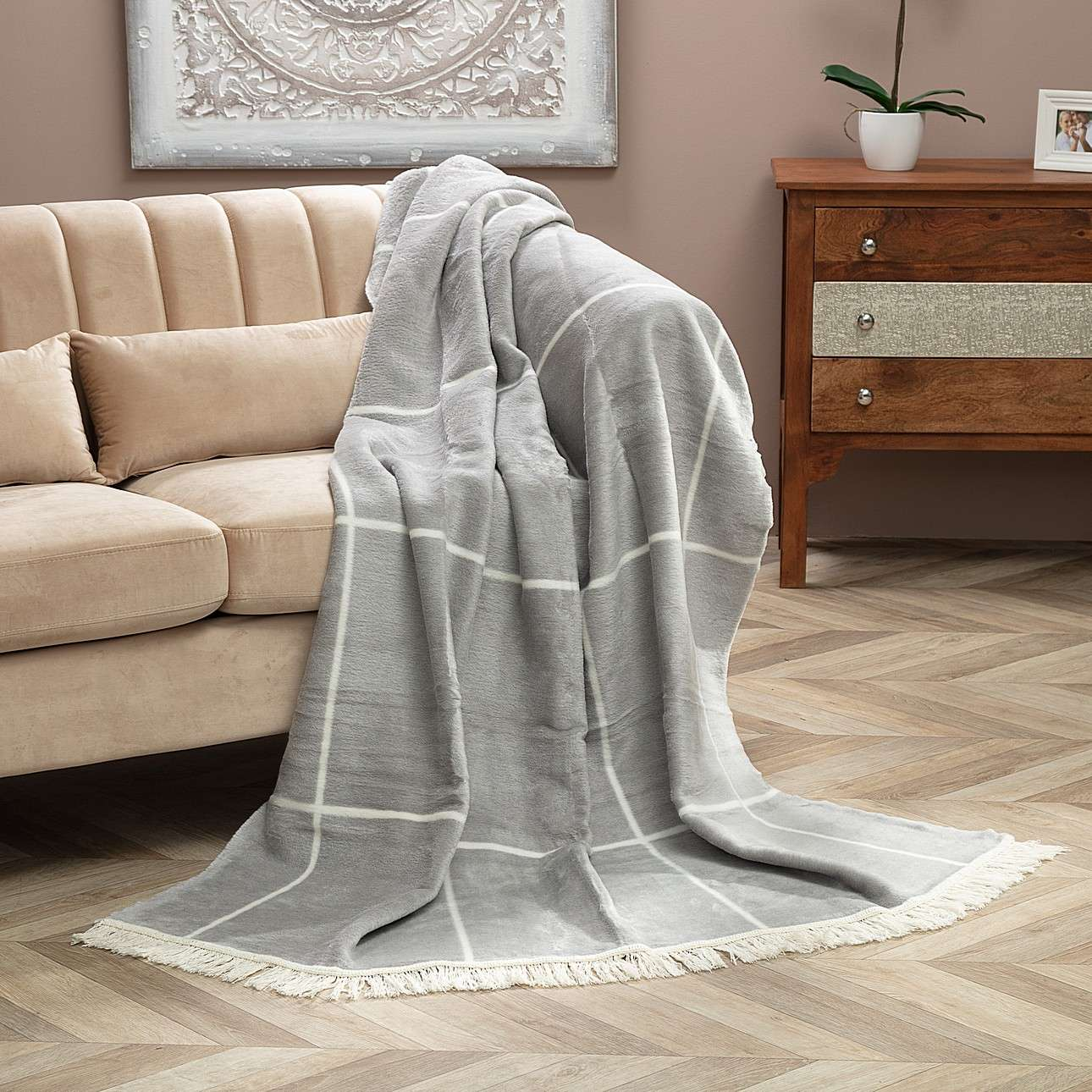 Kuscheldecke Cotton Cloud 150x200 Grey&Ecru Check
