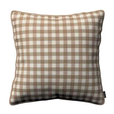 Poszewka Gabi na poduszkę 136-06 beżowo biała kratka (1,5x1,5cm) Kolekcja Quadro