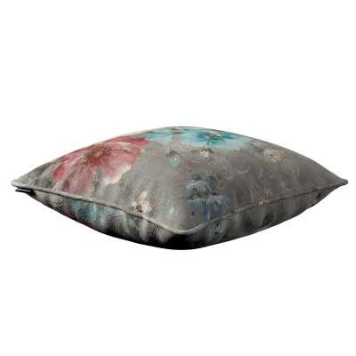Poszewka Gabi na poduszkę 137-81 niebieskie i różowe kwiaty na szarym tle Kolekcja Flowers