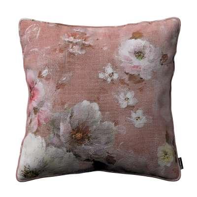 Gabika so šnúrkou, obliečka na vankúš 137-83 krémove a ružové kvety na tmavo ružovom podklade Kolekcia Flowers