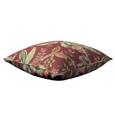 Poszewka Gabi na poduszkę 142-12 wzory roślinne i kwiatowe na czerwono-ceglanym tle Kolekcja Gardenia
