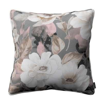 Poszewka Gabi na poduszkę 142-13 kremowe i różowe kwiaty na szarym tle  Kolekcja Gardenia
