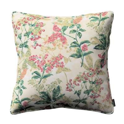 Poszewka Gabi na poduszkę 143-41 różowo-beżowe rośliny na tle ecru Kolekcja Londres