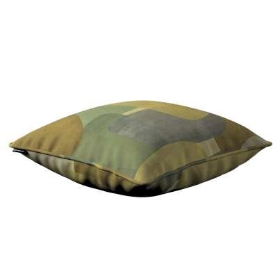 Poszewka Gabi na poduszkę 143-72 geometryczne wzory w zielono-brązowej kolorystyce Kolekcja Vintage 70's