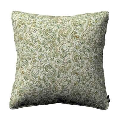 Poszewka Gabi na poduszkę 143-68 zielono-pomarańczowe wzory na beżówym tle Kolekcja Flowers