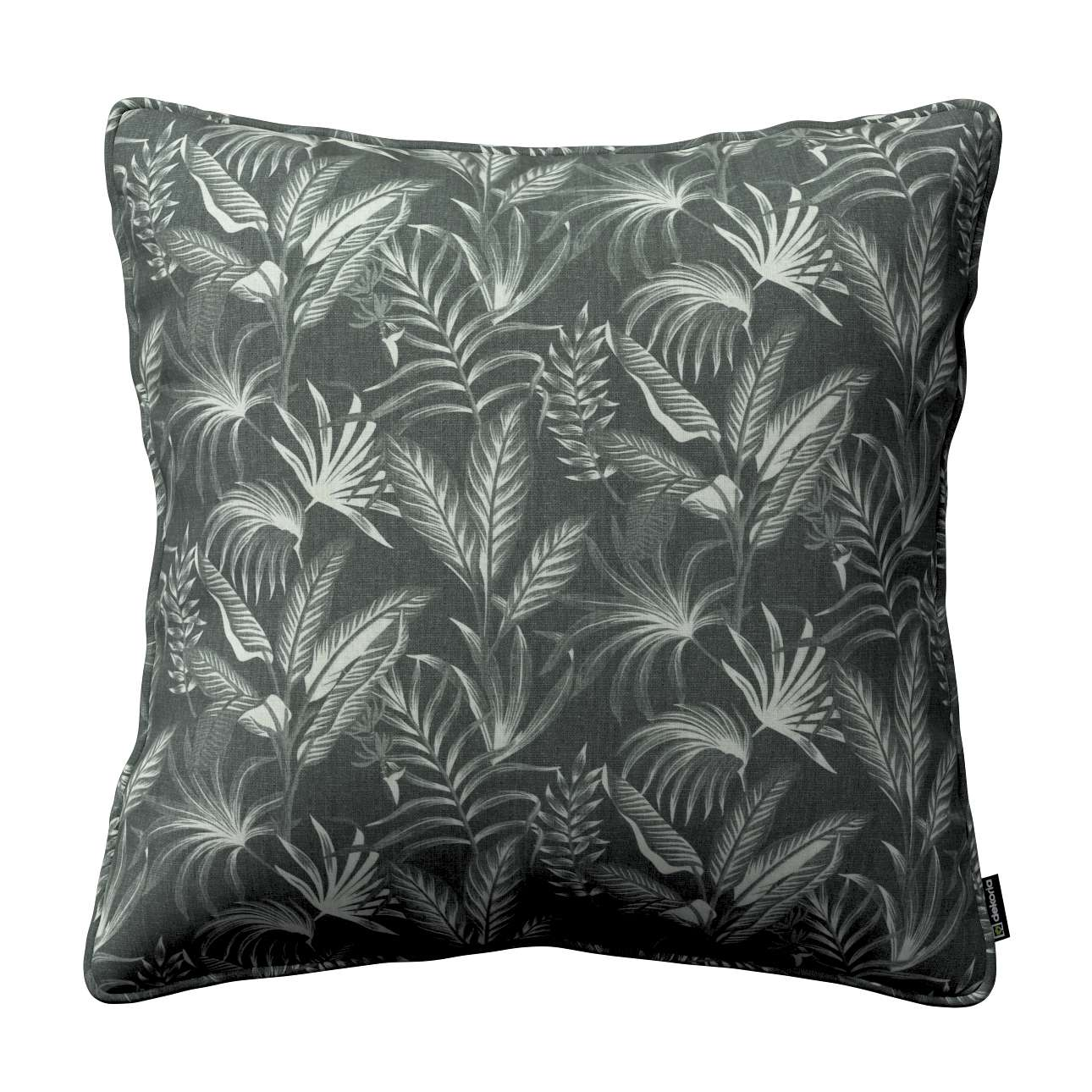 Dekoria Gabi - potah na polštář šňůrka po obvodu, listy na černém pozadí, 60 × 60 cm, Flowers, 143-73