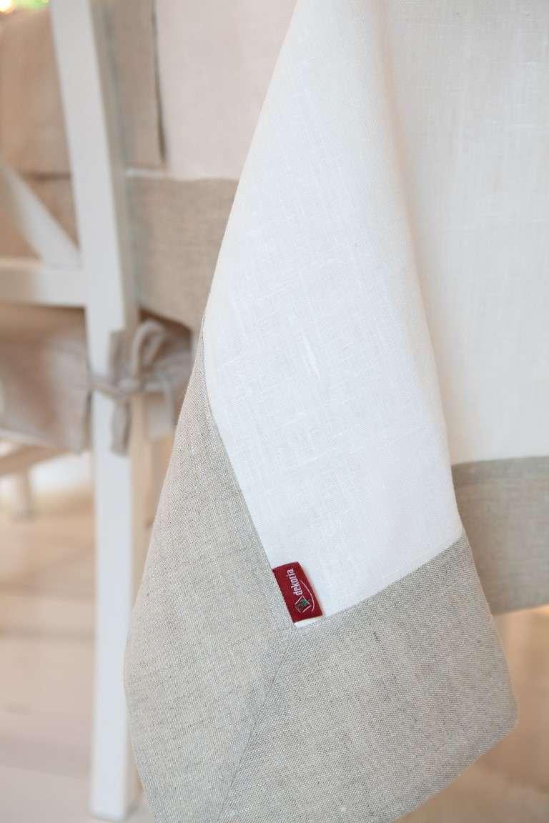 Obrus z ramką 130x130 cm w kolekcji Linen, tkanina: 392-04