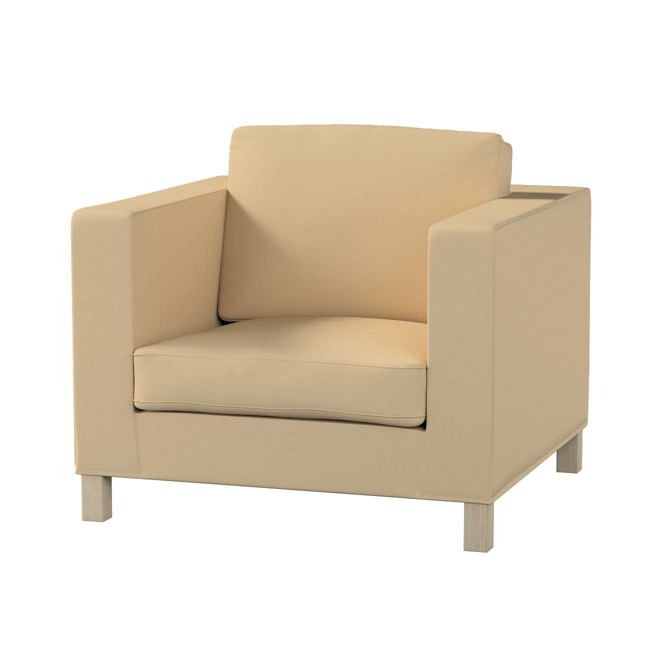 Pokrowiec na fotel Karlanda, krótki fotel Karlanda w kolekcji Cotton Panama, tkanina: 702-01