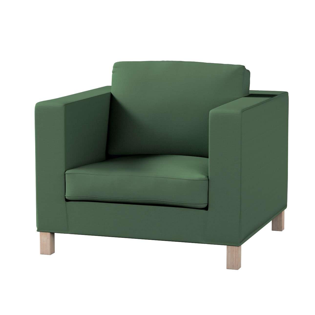Pokrowiec na fotel Karlanda, krótki fotel Karlanda w kolekcji Cotton Panama, tkanina: 702-06