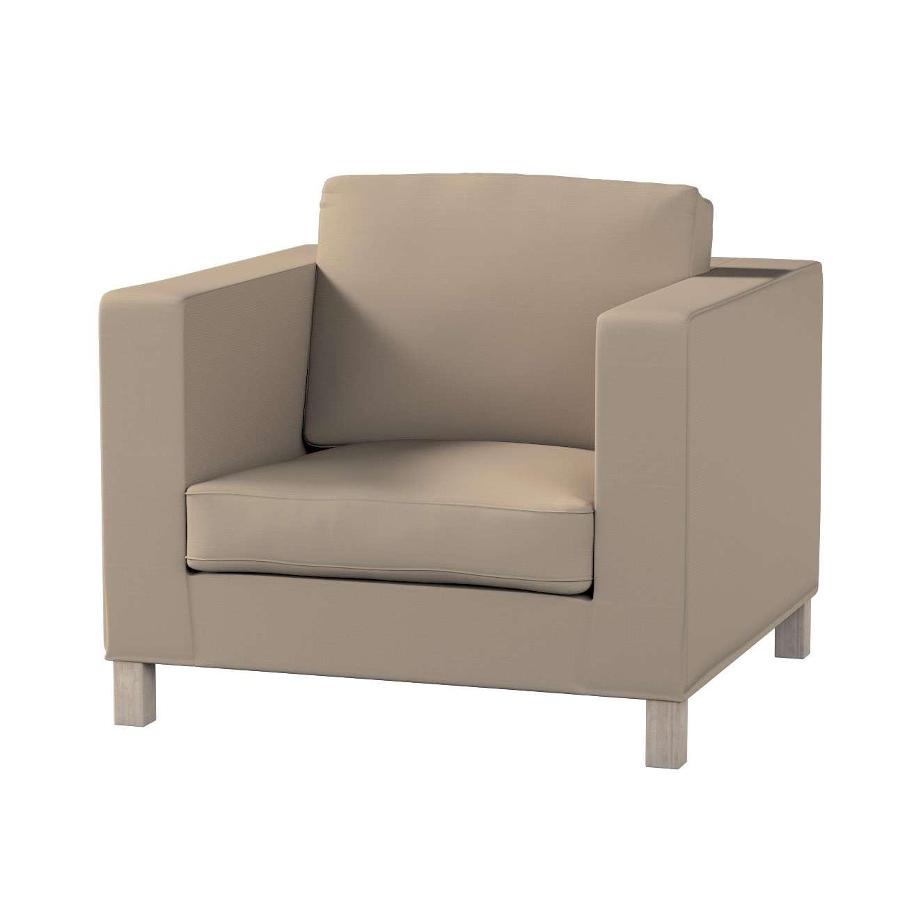 Pokrowiec na fotel Karlanda, krótki fotel Karlanda w kolekcji Cotton Panama, tkanina: 702-28