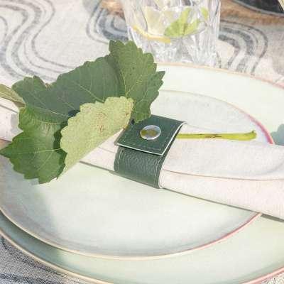 Serviettenringe im Set Eco Leather green 4 Stck. Serviettenständer - Dekoria.de