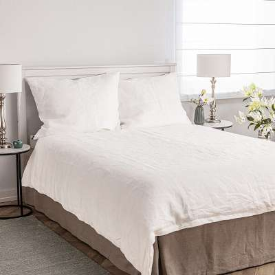 Dekbedovertrek set linnen 220x200cm white Beddengoed - Dekoria.nl
