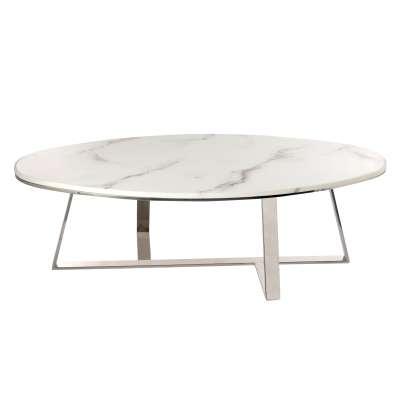 Větší konferenční stolek Rava white marble 130x70x40cm Odkládací a konferenční stolky - Dekoria-home.cz