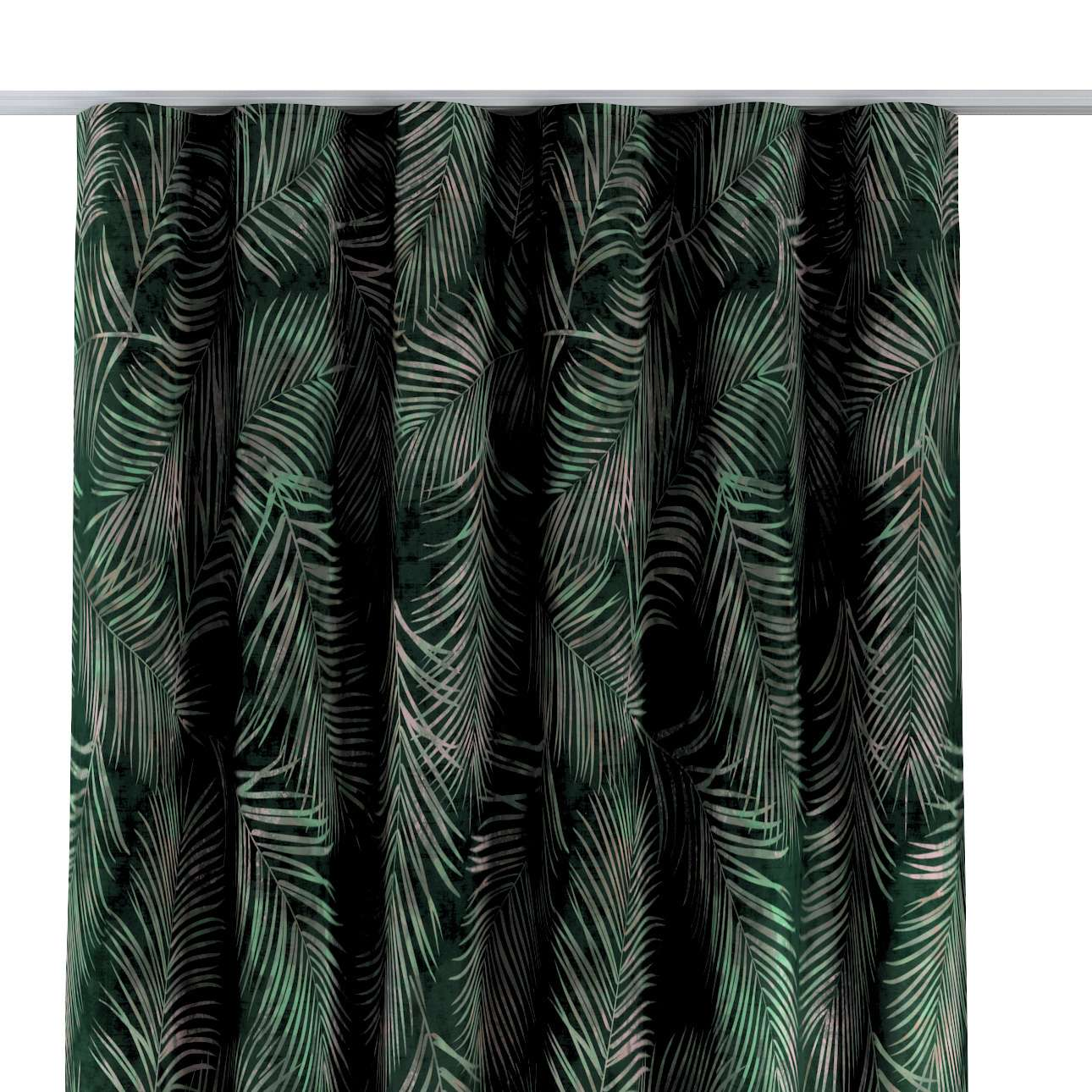 Dekoria Závěs na řasící pásce wave, stylizované palmové listy na zeleném podkladu, 130x280cm, Velvet