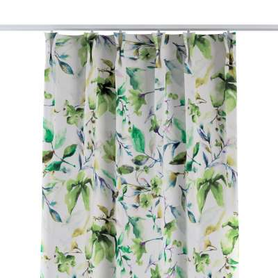 Curtian with pinch pleat 704-20 green leaves on a white/cream background Collection Velvet