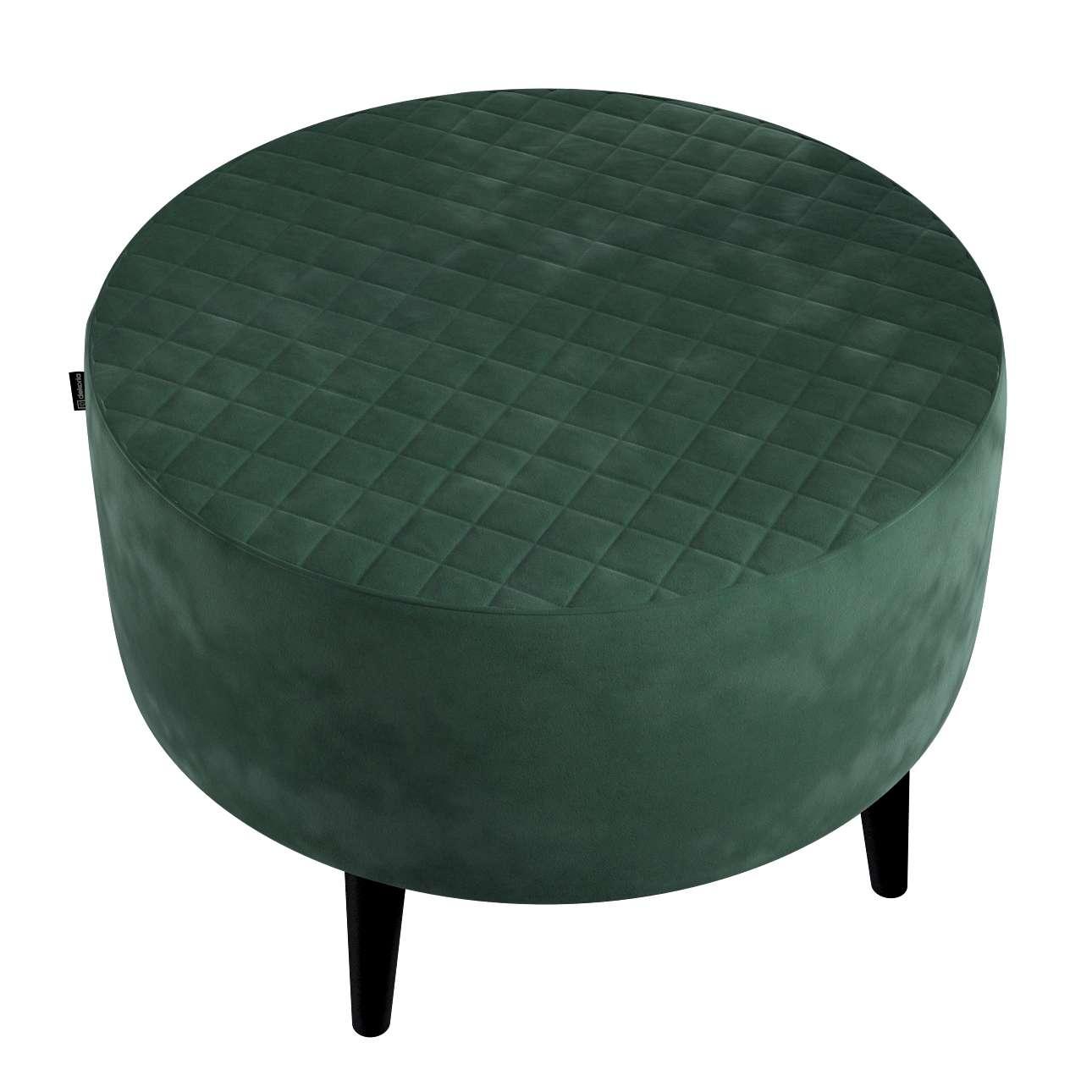 Podnóżek okrągły pikowany w kolekcji Velvet, tkanina: 704-25