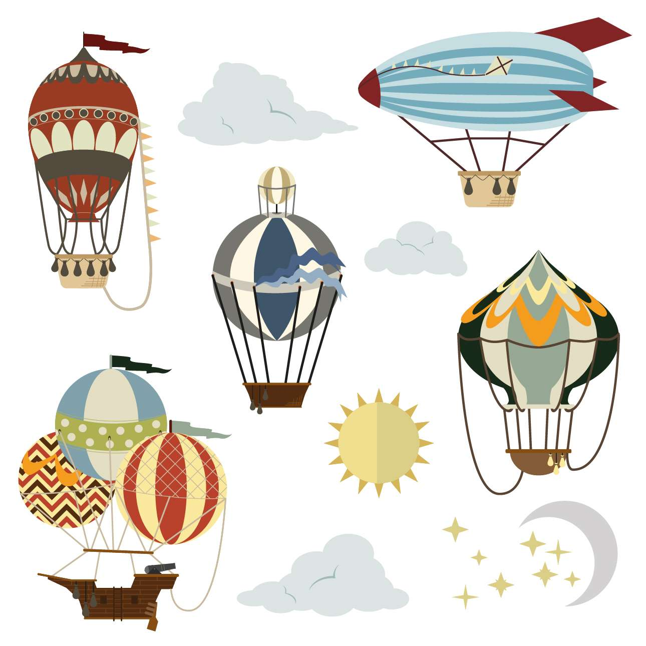 Aufkleber-Set Travel Balloons