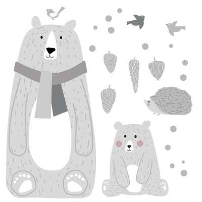 Aufkleber-Set Bears grau Wandsticker - Yellow-tipi.de